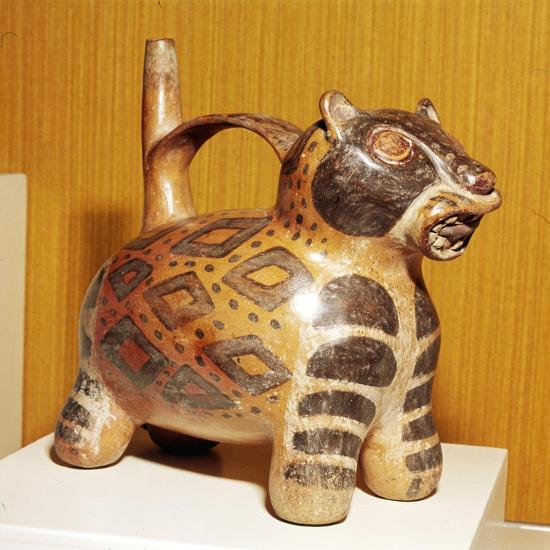 Painted pottery Bridge and Spout vessel in the form of a Jaguar, Tiahuanaco, Peru, 100-600-Unknown-Giclee Print