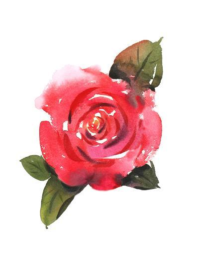 Painted Red Rose with Leaves--Art Print