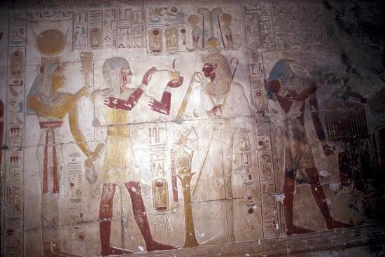 Painted relief of Sethos before Osiris, Temple of Sethos, Abydos, Egypt, 19th Dynasty, c1280 BC-Unknown-Giclee Print