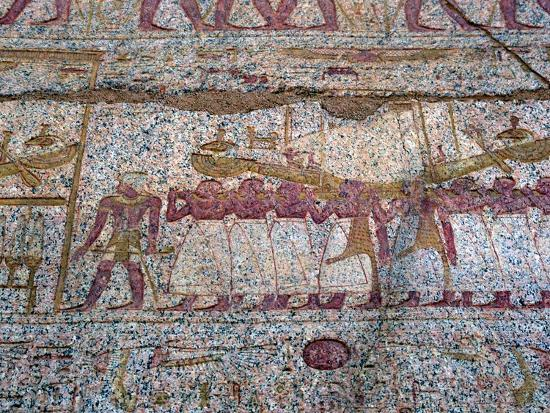 Painted relief showing a Ra sun boat carried in a procession, Ancient Egyptian. Artist: Unknown-Unknown-Giclee Print