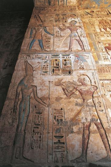 Painted Reliefs of Ramses II Making Offerings to Mut and Amon--Giclee Print