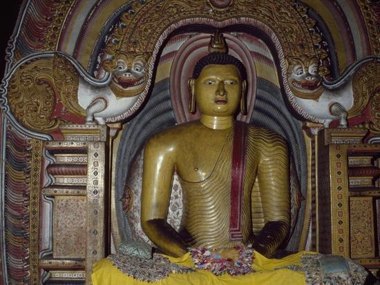 Painted Statue of Buddha Kept in Rock Temple Dating from 18th Century, Dambulla, Sri Lanka--Giclee Print