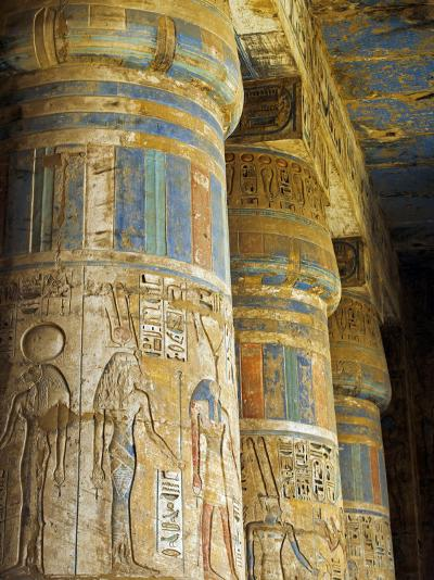 Painted Sunken Relief Carving Adorns Columns in the Mortuary Temple of Ramses Iii on the West Bank -Julian Love-Photographic Print
