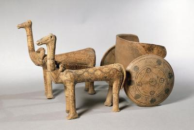 Painted Terracotta Figure of Chariot, from Tomb at Ancient Iolkos--Giclee Print