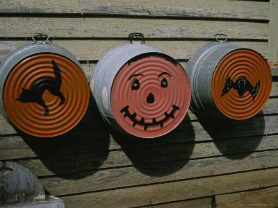 Painted Washtubs on the Side of a Rural House Celebrate Halloween-Stephen St^ John-Photographic Print