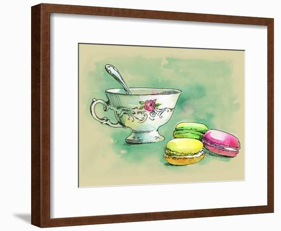 Painted Watercolor French Dessert Macaroons and a Cup of Tea-lozas-Framed Art Print