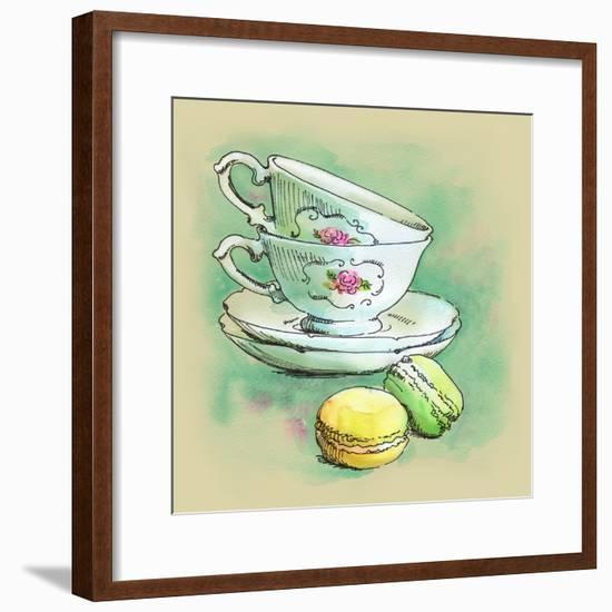 Painted Watercolor French Dessert Macaroons and Tea Cups-lozas-Framed Premium Giclee Print