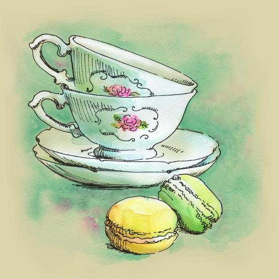 Painted Watercolor French Dessert Macaroons and Tea Cups-lozas-Art Print