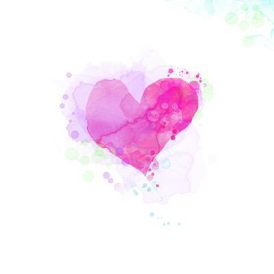 Painted Watercolor Heart-lozas-Art Print