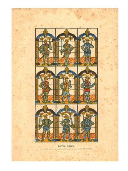 'Painted Window.Two Saxon Earls of Mercia, and Seven Norman Earls of Chester', c1845-Unknown-Giclee Print