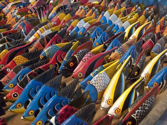 Painted Wooden Fish for Sale in Zanzibar-Michael Melford-Photographic Print