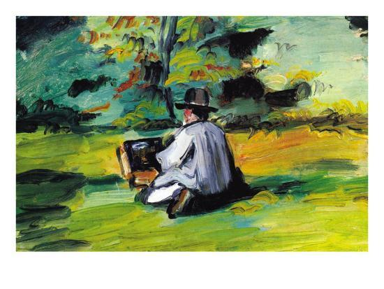 Painter At Work-Paul C?zanne-Premium Giclee Print