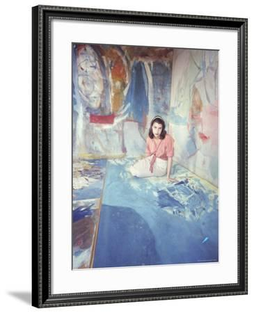 Painter Helen Frankenthaler Sitting Amidst Her Art in Her Studio-Gordon Parks-Framed Premium Photographic Print
