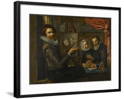 Painter in His Studio Painting the Portrait of a Married Couple-Herman van Vollenhoven-Framed Art Print