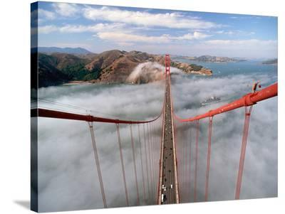 Painter on the Golden Gate Bridge, San Francisco--Stretched Canvas Print