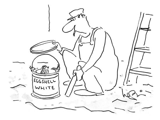 Painter opening a can of 'Eggshell White' uncovers baby bird. - New Yorker Cartoon-Arnie Levin-Premium Giclee Print