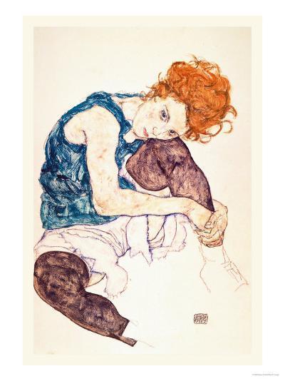 Painter's Wife, Seated-Egon Schiele-Art Print