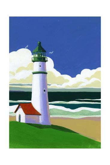 Painterly Landscape of Lighthouse by Ocean--Art Print