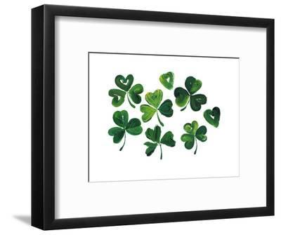 Painterly Shamrocks with Heart-Shaped Leaves