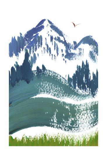 Painterly Snowy Mountain Scene with Bird in Sky--Art Print