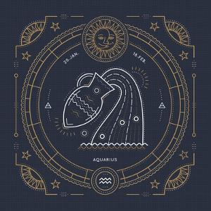 Vintage Thin Line Aquarius Zodiac Sign Label. Retro Vector Astrological Symbol, Mystic, Sacred Geom by painterr