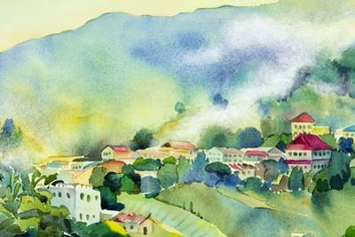 Watercolor Landscape of Colorful View on Hill by Painterstock