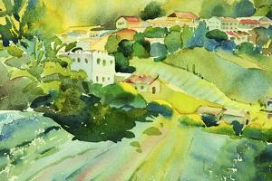 Watercolor Landscape of Village on a Hill by Painterstock