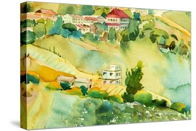 Watercolor Landscape of Village View on Hill by Painterstock