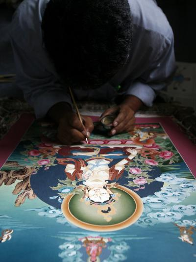 Painting a Thangka Depicting White Tara Goddess, Buddhist Symbol of Long Life, Bhaktapur-Godong-Photographic Print