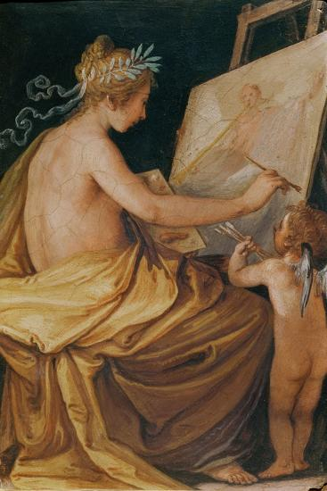 Painting, Assisted by a Cherub, Depicting Fame-Giovanni Mannozzi-Giclee Print