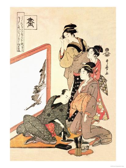 Painting at Home-Kitagawa Utamaro-Art Print