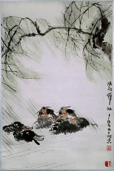 Painting by Li K'e-Jan: 'Return from the Pasture in Wind and Rain'--Giclee Print