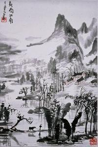Painting by Li K'e-Jan: 'Southern Chinese Landscape in Spring Rain'