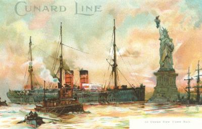 Painting, Cunard Line Ship Passing Statue of Liberty, New York City