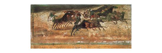 Painting of a chariot race in the amphitheatre of Pompeii-Werner Forman-Giclee Print