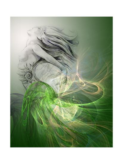 Painting Of A Mermaid-outsiderzone-Premium Giclee Print