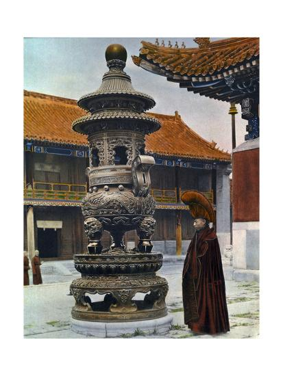 Painting of a Monk in Ceremonial Robes Beside a Bronze Incense Burner-H. C. and J. H. and Deng White and Bao-Ling-Photographic Print