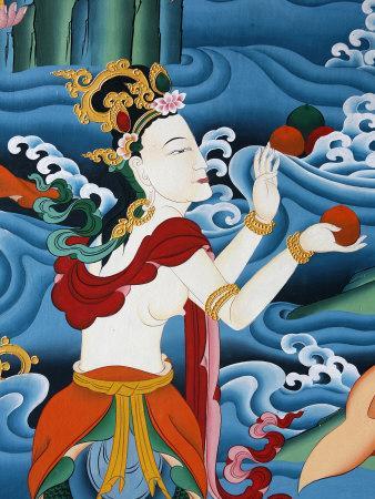 Painting of a Tibetan Deity, Kopan Monastery, Kathmandu, Nepal, Asia-Godong-Photographic Print