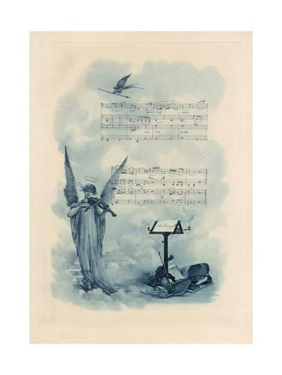 Painting of Angel Playing Violin with Music--Art Print