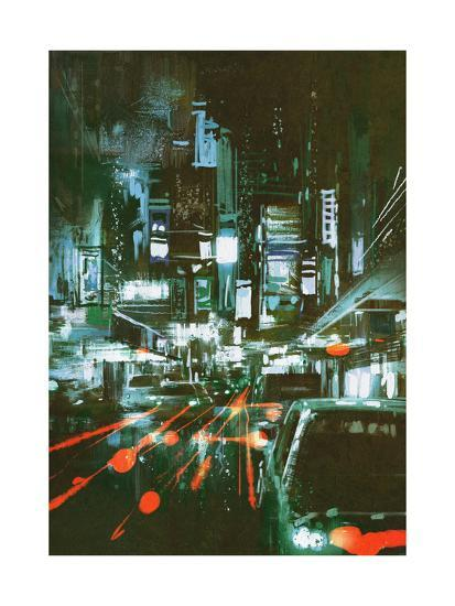 Painting of Car Taillights on a City Street at Night,Illustration-Tithi Luadthong-Art Print