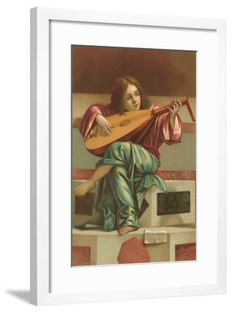 Painting of Child Playing Italian Lute--Framed Art Print