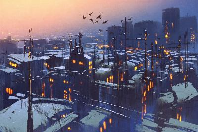 Painting of City Snowy Winter Scene,Rooftops Covered with Snow at Sunset-Tithi Luadthong-Art Print