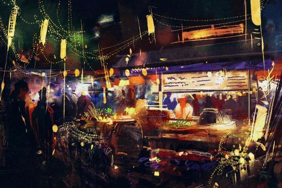 Painting of Colorful Market at Night ,Movement on People Walking-Tithi Luadthong-Art Print