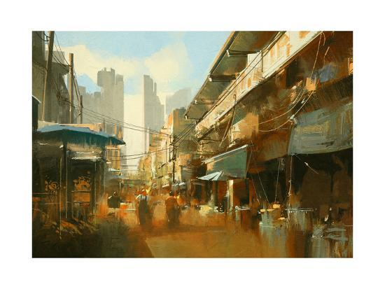 Painting of Colorful Street Market,Illustration-Tithi Luadthong-Art Print