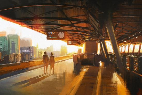 Painting of Couple Waiting a Train on the Station,Illustration-Tithi Luadthong-Art Print