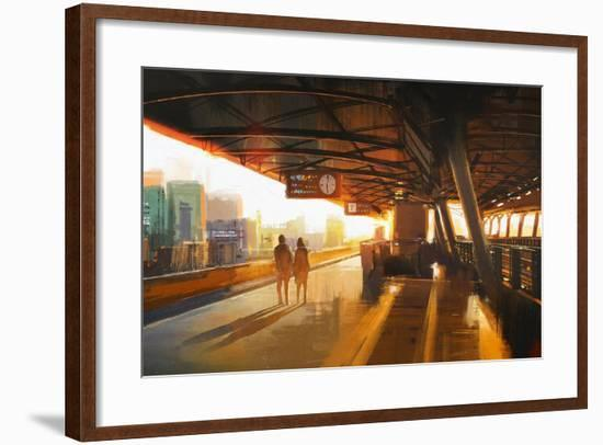 Painting of Couple Waiting a Train on the Station,Illustration-Tithi Luadthong-Framed Art Print