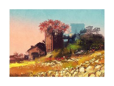 Painting of Farm House on the Country Side,Illustration-Tithi Luadthong-Art Print
