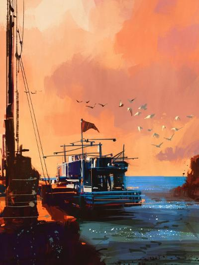 Painting of Fishing Boat in Port at Sunset,Illustration-Tithi Luadthong-Art Print