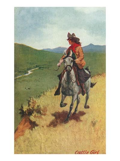 Painting of Galloping Cowgirl--Art Print