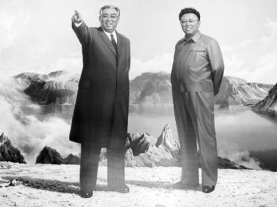 Painting of Kim Jong Il and Kim Il Sung, Pyongyang, Democratic People's Republic of Korea, N. Korea-Gavin Hellier-Photographic Print